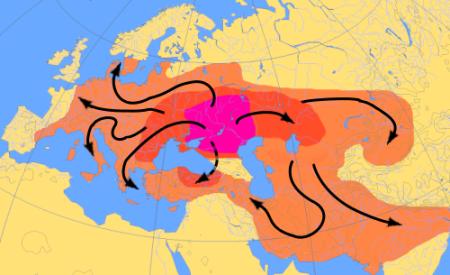 Карта миграций индоевропейцев 4000-1000до н.э.