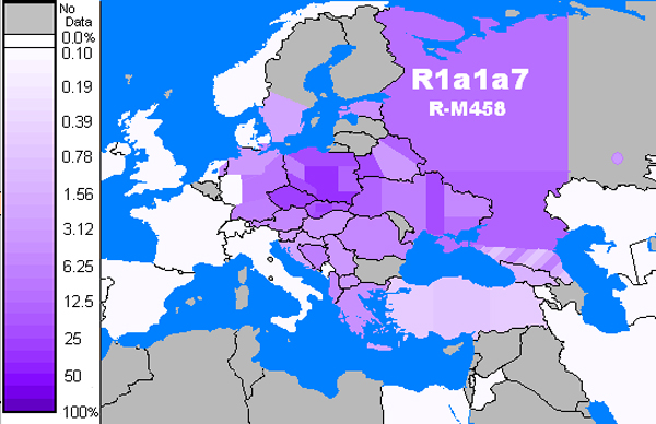 распределения R1a1a7 (R-M458