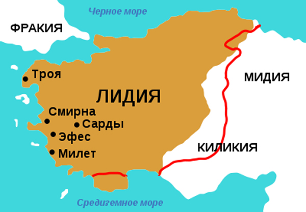 Map of Lydia ancient times. Столица Лидии - город Сарды