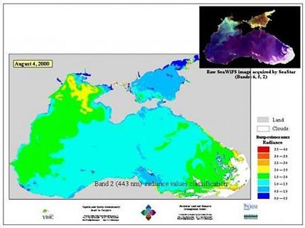 концентрация хлорофилла = водорослей и планктона в Чёрном море