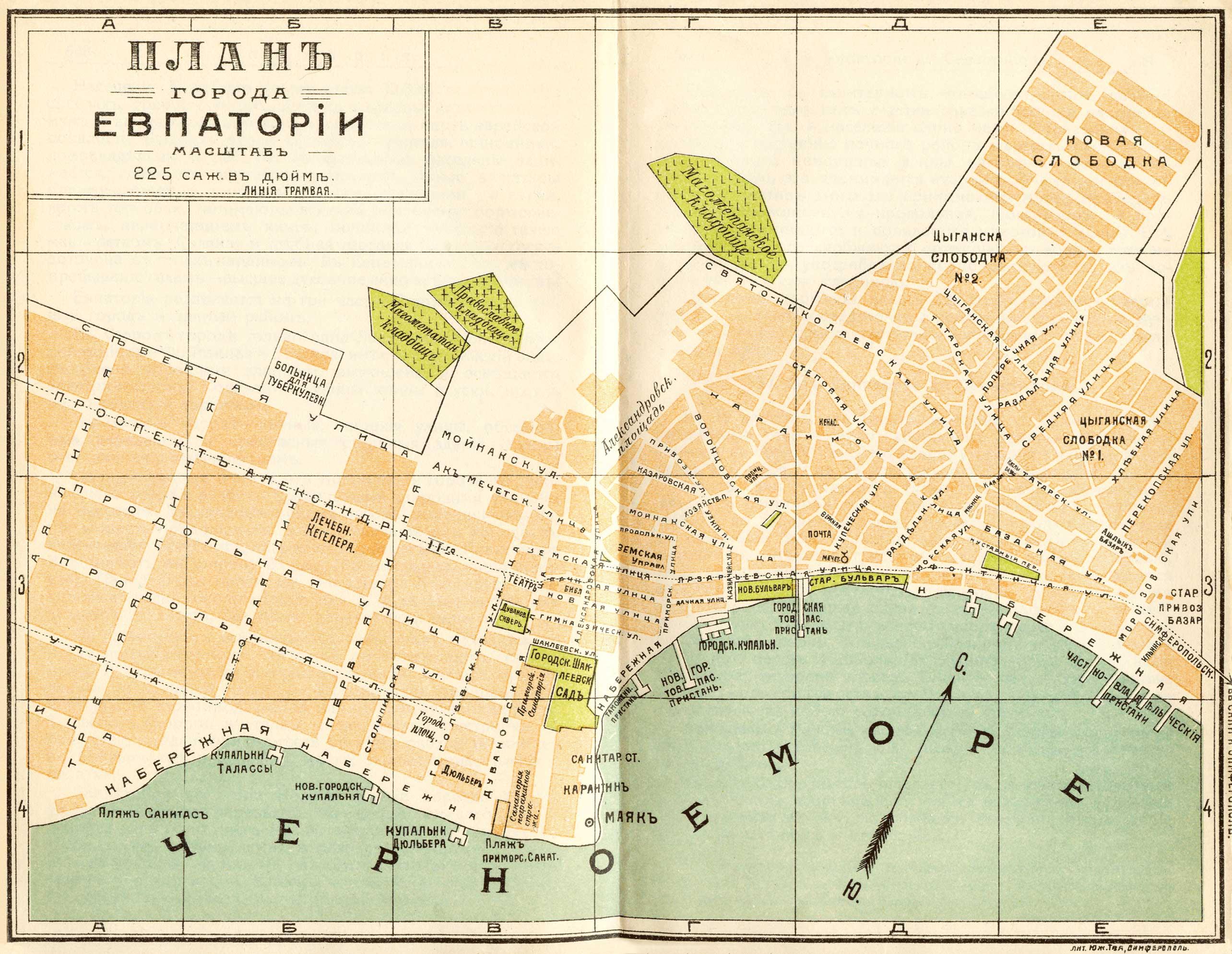 План Евпатории 1900 год