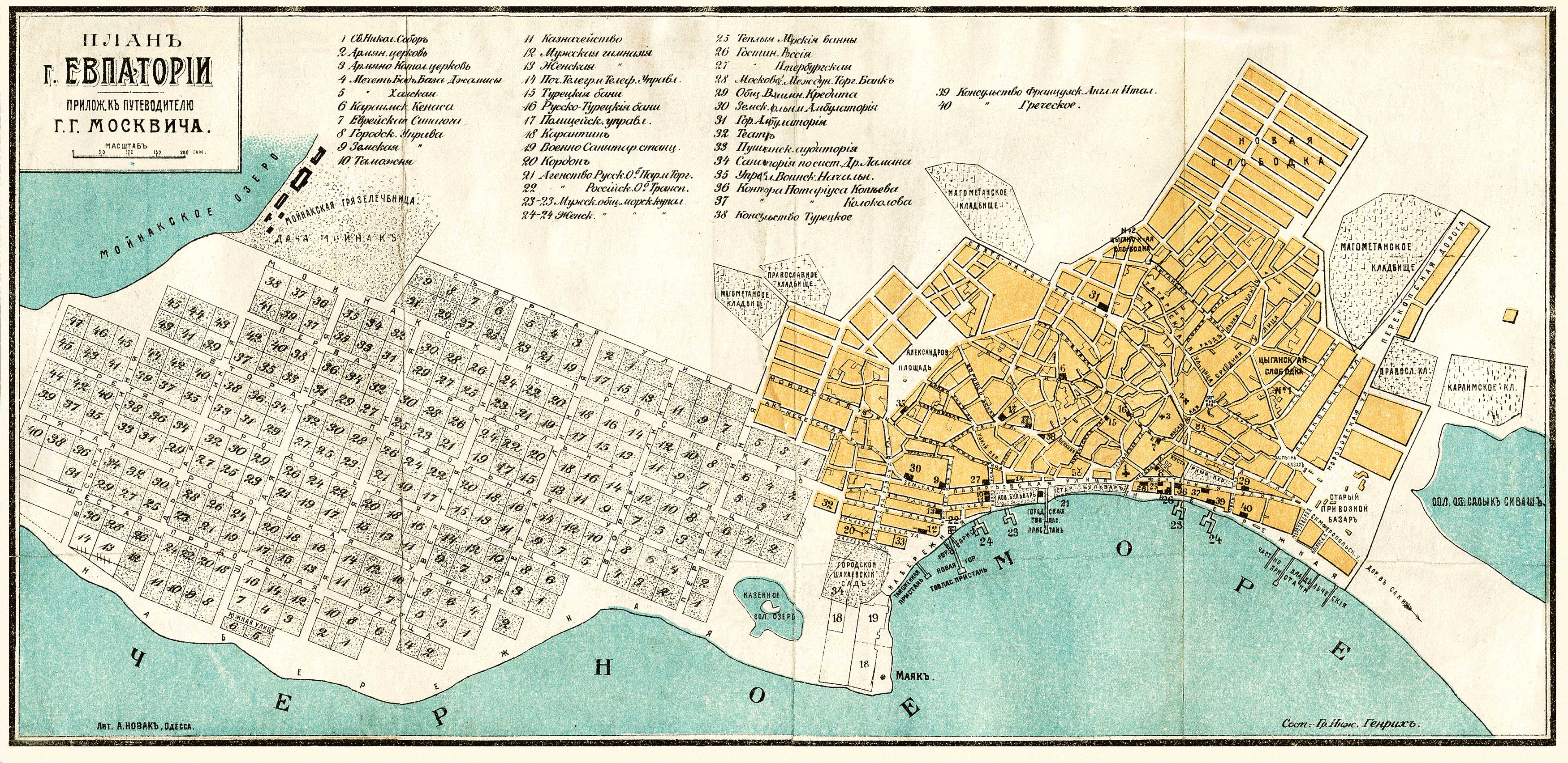 Старый план города Евпатории