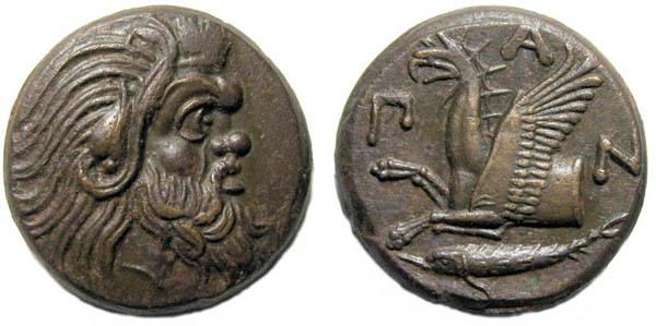 Тетрахалк-медь-345г.до н.э.-'Сатир+Грифон и осётр-ПАN