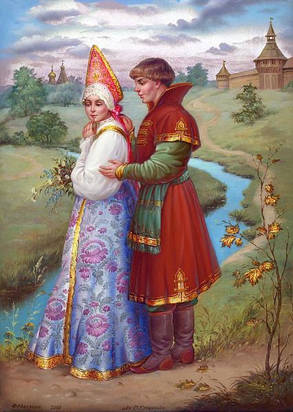 Федоскинская миниатюра. Свадебный князь и княгиня.