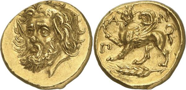 Самая дорогая монета — Золотой статер Пантикапея с изображением на аверсе головы бородатого божества, а на реверсе — грифона и пшеничного колоса. IV век до н. э.
