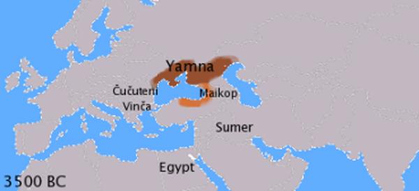 Ямная культура и майкопская культура в 4-м тысячелетии до н. э..