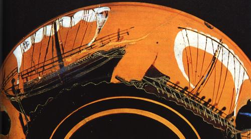 Боевой корабль атакует торговое судно. Роспись на чернофигурной вазе VI в. до н.э.
