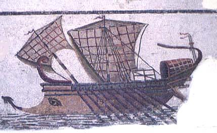 Римский боевой корабль. Мозаика III в. н.э.-Mosaik-of-an-ancient-boat-in-Sousse-Tunesia