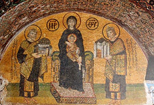 Императоры-Константин-и-Юстиниан-перед-Богородицей