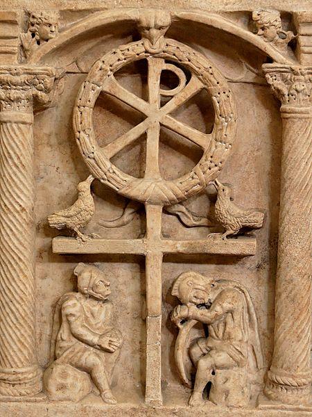 450px-Anastasis_Pio_Christiano_Inv31525.jpgХризма на барельефе из римского саркофага, 4 века