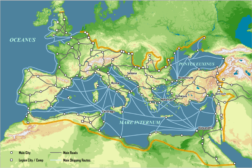 Roman_Empire_c125AD transport system
