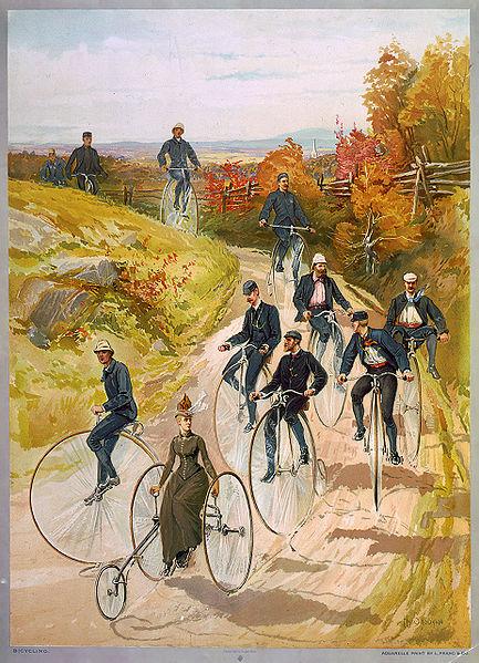 Велосипедная прогулка. Bicycling-ca1887-bigwheelers
