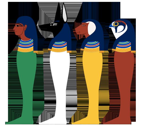 4 сына Гора -Имсети, Дуамутеф, Хапи, Квебехсенуф