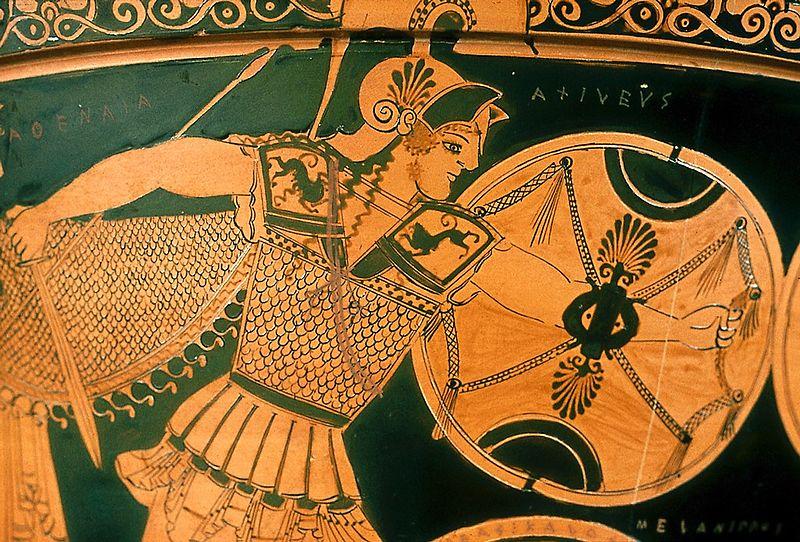 Гоплит в аттическом шлеме. Древнегреческая ваза ок. 475 г. до н. э.