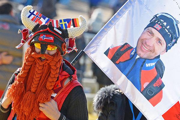Болельщик норвежского биатлониста Уле-Айнара Бьорндалена