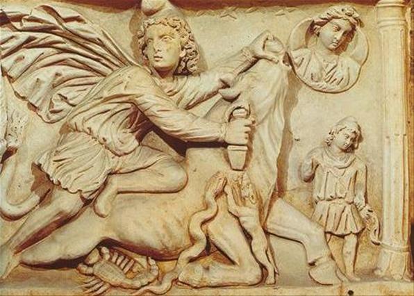 Митра убивает быка. Римский рельеф III века.