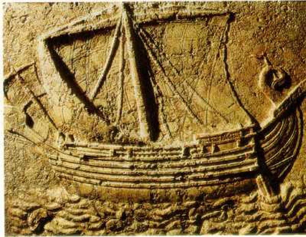 Финикийский корабль римской эпохи. Барельеф из Сидона.