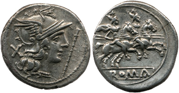 206 г. до н.э.-Helmeted head of Roma right; X behind, staff before. Rev. The Dioscuri riding right.