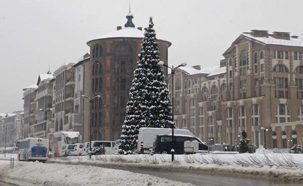 A Christmas tree is seen in Krasnaya Polyana, near Sochi,