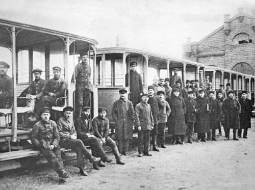 Вагоны открытого типа. Симферополь, 1915 г.