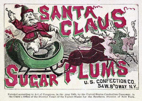 Санта Клаус в рекламе Сахарные сливы - 1868 г.