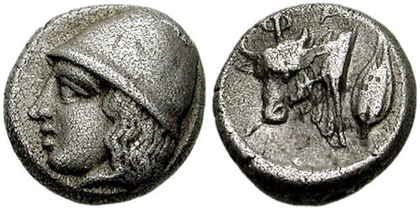 Диабол-Фанагория-403г.до н.э. Аверс - голова кабира в конической шапке; реверс - белый Бык и зерно пшеницы