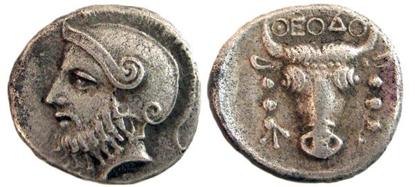 Драхма-403г.до н.э.-Арес+бык-ΘΕΟΔΟ