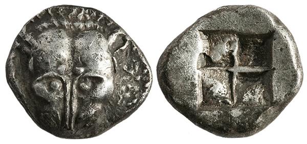 Триобол. серебро. Пантикапей, 520 г.до н.э. голова льва и засеянное поле