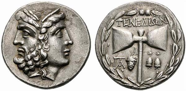 1-Греческий серебряная монета- Зевс - Гера и Лабрис (100-70в.н.э.)