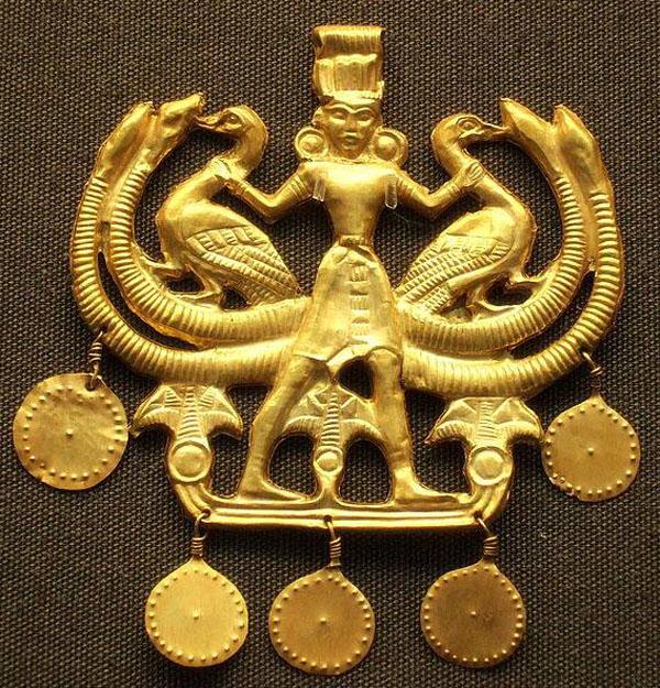 Апи-Змееногая богиня-минойской Золот кулон, 1800г. до нашей эры.