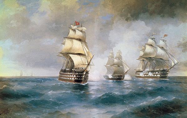 Бриг Меркурий, атакованный двумя турецкими кораблями 1892