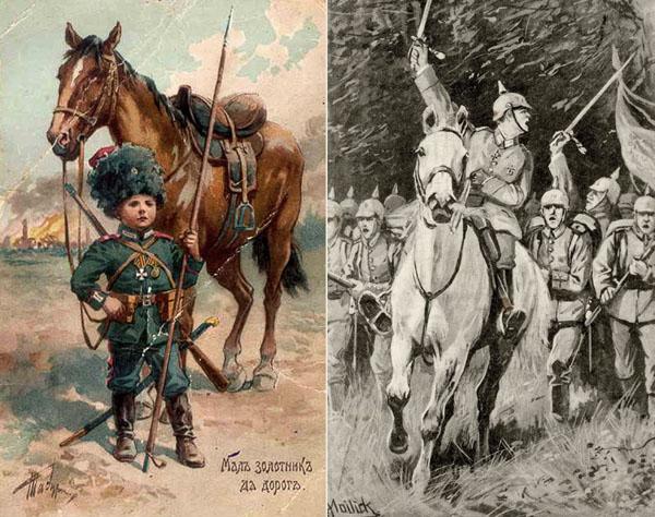 31-Русская и немецкая открытки 1914