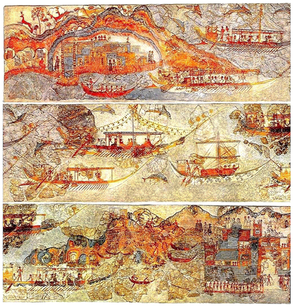 Minoan_Miniature_Frieze_Admirals_Flotilla_Fresco_Art_Three_Panels