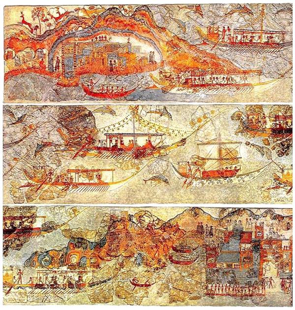 Minoan_Miniature_Frieze_Admirals_Flotilla_Fresco_Art_Three_Panels