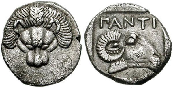 Диабол-413г. до н.э.- лев, баран - ПАNTI - Пантикапей - Керчь