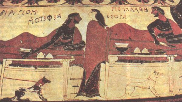 Фраг. росписи чернофигурного кратера. ок 600 д.н.э. Париж.