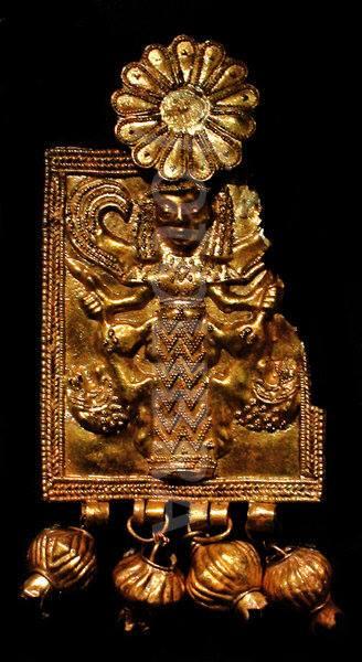 змееногая, крылатая богиня-  в Camirus, Родос- 6 век до н.э.,