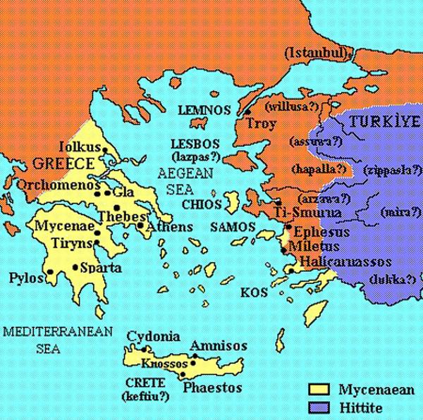 карта-Троянс.война бронз. век-1200-1100 до н. э. микенцы против греков Илиона (Troy)