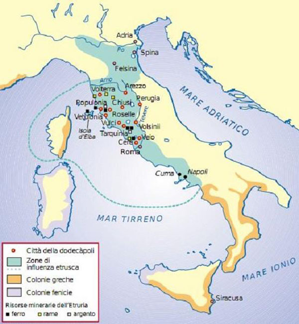 карта-перв. дни Рима- 6 в. н.э.-Этруски, греки, финикийцы и карфагеняне