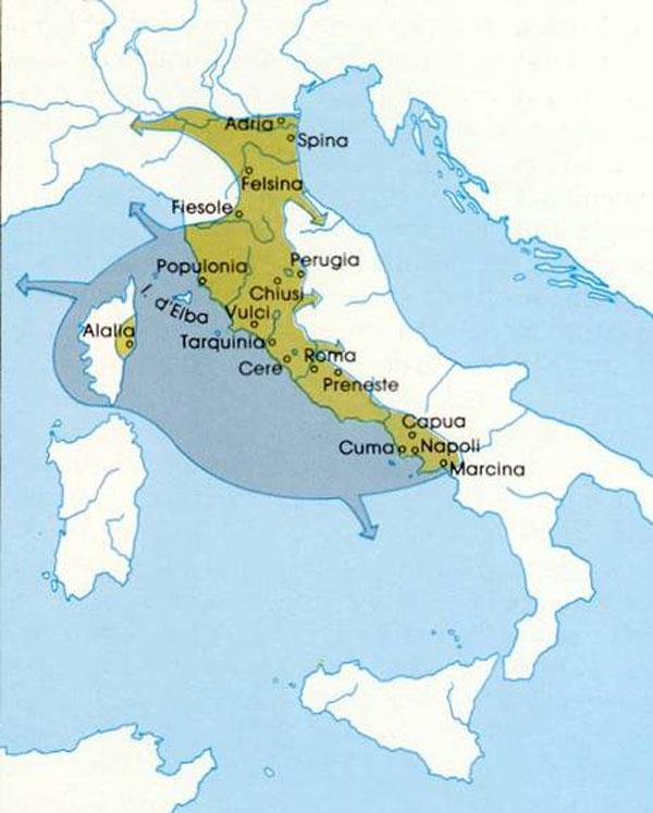 карта-этрусски в италии