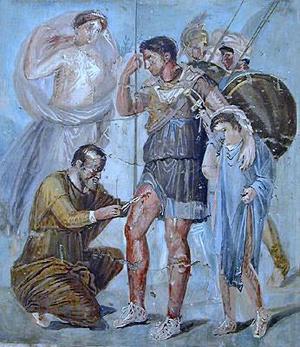 Асклепий-раненый стрелой Эней (Aeneas), его сын Ascanius