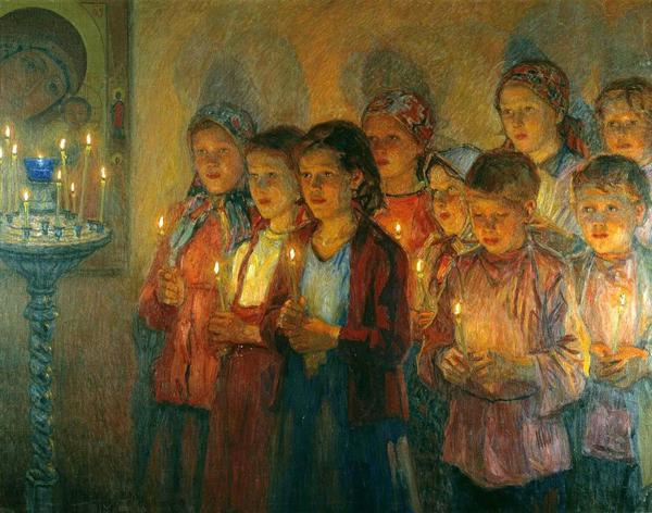 Богданов-Бельский Никол. 1891.-в церкви