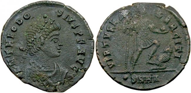 Феодосий I (370-395 г.) АЕ Центенионалий, Гераклея 383-388 г.-feodosijj-i-370-395-g.-ae-centenionalijj