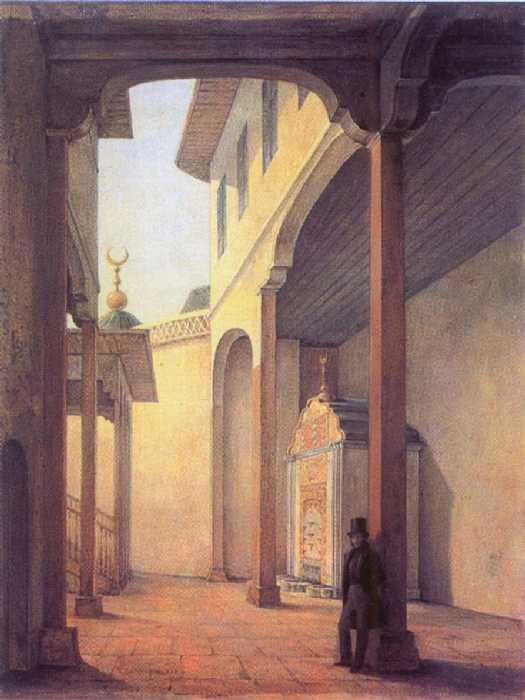 Г. Чернецов. Пушкин в Бахчисарайском дворце. 1837