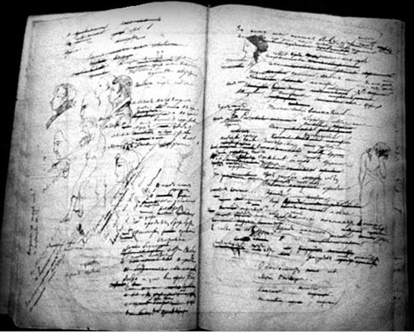 Пушкин -Страницы рукописи романа в стихах Евгений Онгин