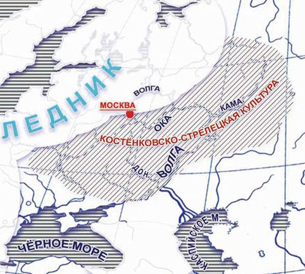 Эпоха верхнего палеолита-50 тыс лет назад - комплекс «Костёнки» признан самым древним местом обитания человека современного типа