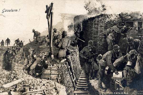 "The historic drawing on a postcard from 1917 shows a propaganda portrayal of a ""Gas Alarm"" in the German bunker on a World War One battlefield. Chemical weapons were used during WWI. The First World War was carried out in Europe, the Middle East, Africa, East Asia and on the world's oceans from 1914-1918. Photo: Sammlung Sauer - NO WIRE SERVICE"