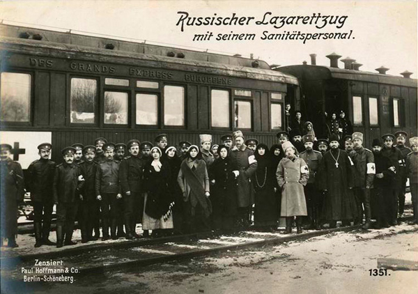 Russian hospital train with its personnel.
