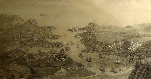 Литография_перспектива_города_гавани_и_укреплений_Севастополя_Берлин_1850е