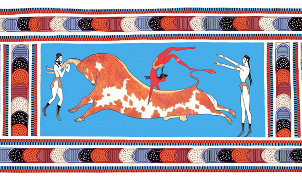 бык-фреска-Minoan_Bull_Leaping_Toreador_Fresco_Art